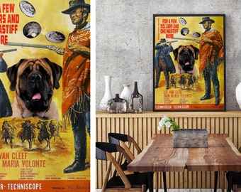 English Mastiff Art Vintage Movie Style Poster - For a Few Dollars More Canvas Print  NEW Collection by Nobility Dogs