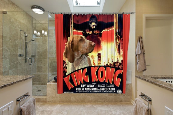 Bracco Italiano Art Shower Curtain, Dog Shower Curtains, Bathroom Decor - King Kong Movie Poster by Nobility Dogs