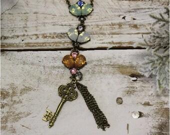 Pendant necklace, lace, charm,  long, handmade, boho, lace, Victorian, unique, vintage, lacey, hippie, bohemian, jewelry | PN7