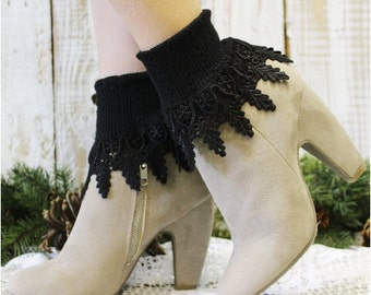 Lace socks,lace socks women, lace cuff sock, short boot sock, lace boot sock, boot cuff sock SIGNATURE LACE Black Catherine Cole Studio SLC2