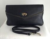 Vintage Etienne Aigner Black Leather Envelope Clutch Shoulder Bag