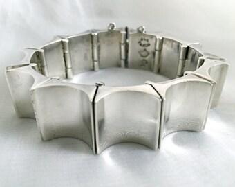 Authentic Vintage Antonio Pineda Concave Rectangles Bracelet, Mexican Midcentury Modernist, Sterling Silver