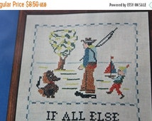"""ON SALE Cross Stitch Sampler Kit Stamped Embroidery """"....Ask Grandfather"""" Going Fishing Sealed Package Needle and Hoops with J & P Coats Flo"""