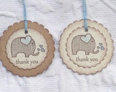 Set Of 12 Double Scallop Blue Elephant Thank You Tags - Nail Polish Tag - Baby Shower Favor Tag