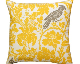 Throw Pillows, Corn Yellow Barber Bird Pillow Cover, Yellow Pillow Case, Zippered Pillow, Yellow Cushion Cover, Sofa Pillows, Woodland Decor
