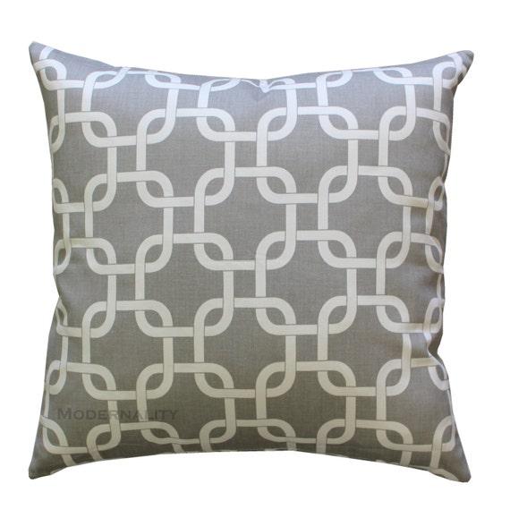 Toss Pillows, Gotcha Storm Grey Pillow Cover, Zippered Pillow, Chainlink Pillow, Gray Cushion Cover, Geometric Throw Pillow, Lattice Pillow