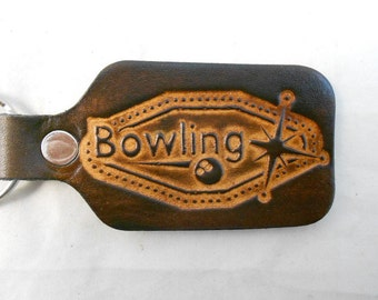 Four pack of Leather Bowling Keychains, 4 Key Fobs, League Bowl Retro Design