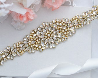 SALE Gold Wedding Belt, Bridal Belt, Sash Belt, Crystal Rhinestones
