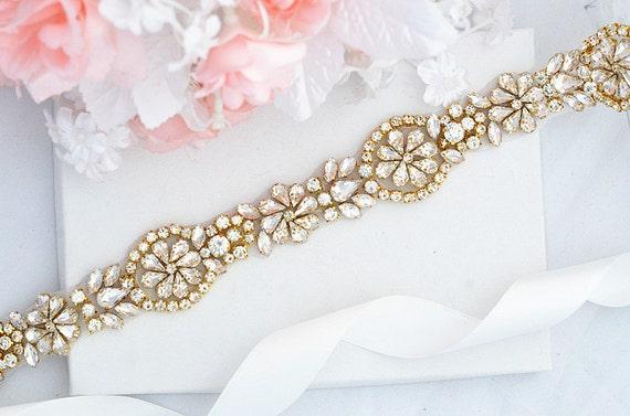 SALE Gold Wedding Belt, Bridal Belt, Sash Belt, Crystal Rhinestones sash belt , vintage sash belt