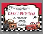 Cars Birthday Invitation, Mater and Lightning McQueen Birthday Invitations, Cars Invitation, Checkered Car Invitation, Printable