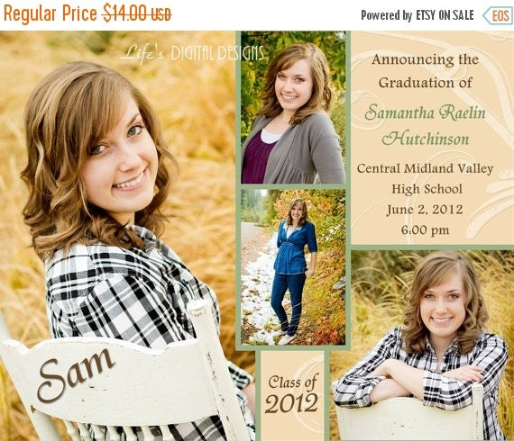 "Graduation Announcements Multiple Photo and Background Options Customizable Printable 6x7.5"" Costco Size"