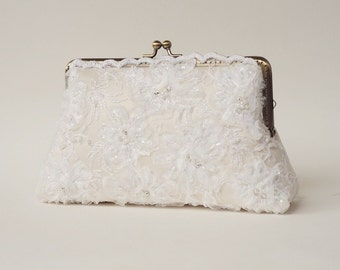 Precious ivory Lace Purse / Beaded and Appliquéd Bridal Clutch / bridesmaid gift /  Evening clutch / Formal Party Purse / READY TO SHIP