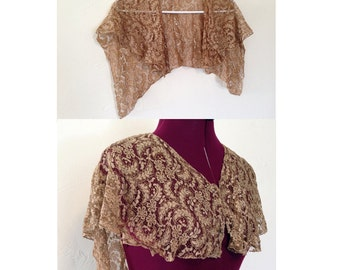 1930-1940s Vintage Lace Shawl / Brown Lace Shawl