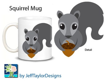 Squirrel Coffee Mug - 2 Choices: Gray or Pink Squirrel