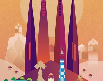 Limited Edition - Gaudi's Barcelona - Large Digital Giclée print. 329 x 483mm