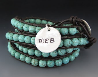 Personalized Turquoise Leather Wrap Bracelet / Leather Gemstone Wrap Bracelet / Custom Silver Charm / Gifts for Her / Graduation Gifts