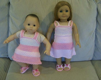 CLEARANCE -- 61) Knit Summer Dress with matching  Sandals Heart Button  15 or18 Inch Dolls  American Girl Cabbage Patch, Bitty