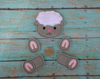 Lamb Oversized Feltie  - Easter Felt - Great for Hair Bows or Crafts -  Gray body legs and hooves Parts with White hair