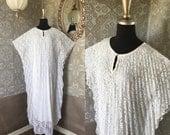 Vintage 1970's 80's White Lace Caftan Kaftan Lounger One Size