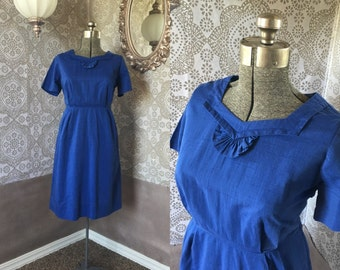 Vintage 1950's Cobalt Blue Dress XXL