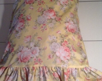 Yellow Shabby Chic Pillow Case / Cover with Ruffle or without Ruffle
