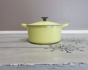 Buttercream Yellow Le Creuset A 1.5 Quart Vintage Cast Iron and Enamel Dutch Oven Soup Pot Small Covered Pot Cooking Pot Pots and Pans Copco