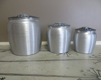 Vintage Aluminum Kromex Canisters Kitchen Canisters Kitchen Storage Black Flour Canister Coffee Canister Flour Bin Countertop Canister Set