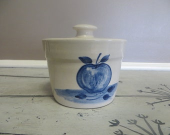 Paul Storie Blue Apple Crock Covered Cot Covered Pot Stoneware Pottery Blue and White Country Crock