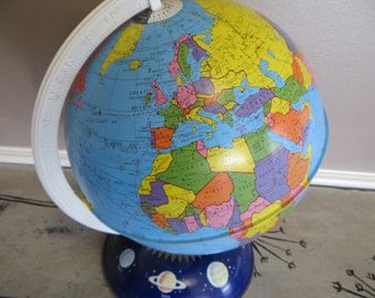 Vintage Globe Metal Globe Astrology Globe Childrens Globe Ohio Arts Metal Globe with Astrology Base