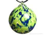 Hand Blown Glass Christmas Tree Ornament - Lapis Blue and Bright Green