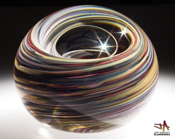 Hand Blown Glass Paperweight - Earthy Stone Color Swirls with Bubble
