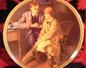 """Norman Rockwell Collectors Plate """"Confiding in the Den"""" 1983"""