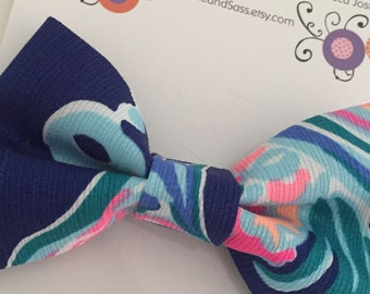 Going Coastal Lilly Pulitzer Bow Tie / Lilly Pulitzer Inspired Clip On Bow Tie in Going Coastal / Cooridinating Bow Tie in Going Coastal