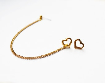 Gold Heart Chain Cartilage Earrings (Pair)
