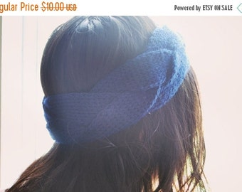 VALENTINES DAY SALE Blue Infinity Knit Headband