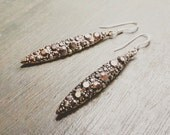Long Crystal Spike Earrings - Brilliant Sparkling Crystals - Marcasite - Pyrite - Long Dangle Crystal Earrings - Brass and Silver Earrings