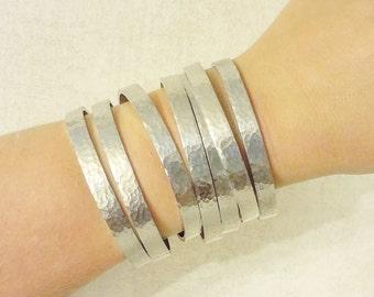 Silver Cuff - Hammered Cuff Bracelet - Silver Pure Aluminum - Great for Sensitive Skin - Hypoallergenic
