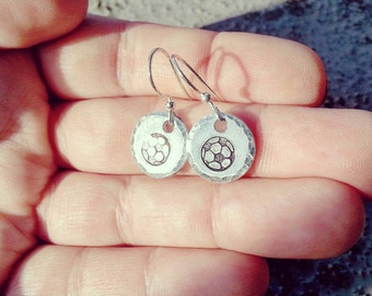 Soccer Earrings - Soccer Fans Gift - Soccer Ball Jewelry - Small Silver Disc Dangle Earrings - Tiny Drop Circle Earrings - Free Gift Box