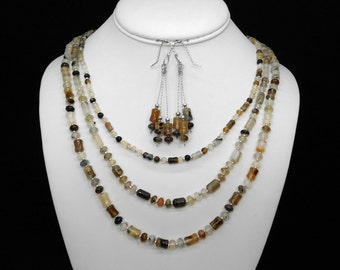 Montana Agate Three-Strand Necklace and Earring Set in Silver
