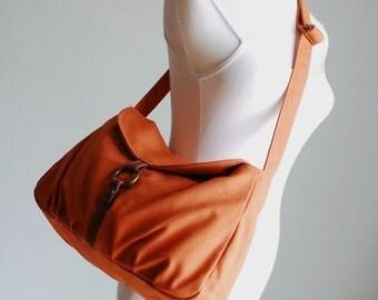 Back To School SALE 30% - Fortuner-S in Pumpkin / Centre Zipper Pocket/ Purse / Laptop/ Shoulder/ Messenger Bag/ Handbag/Diaper Bag/ School