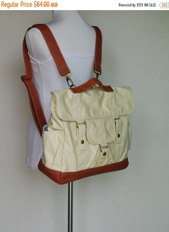 Halloween SALE - 30% Pico2 Backpack Convt. in White Natural Brown / Laptop / Satchel / Messenger Bag / Diaper Bag/Diaper Bag/ School Bag/ Wo