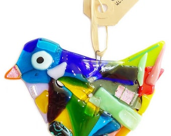 Multicolor glass bird with all the colors of the rainbow and luxury dichroic accents! A special colored bird for home & garden decoration!