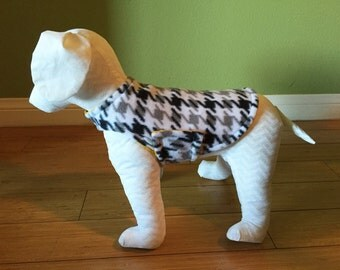 Medium Dog Coat, Jacket, Black, Gray and White Houndstooth Fleece with Gold Fleece Lining