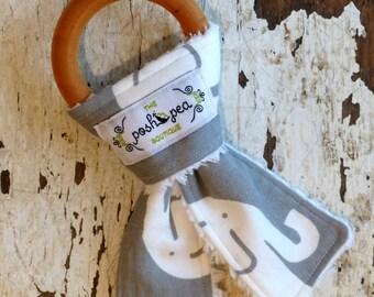 Organic Natural Wood Ring Teether - Elephant on Grey - Bunny Ear Teether - Montessori Inspired