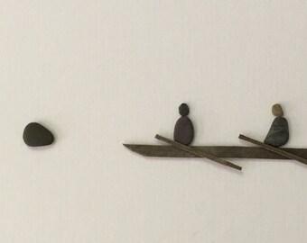 Kayak pebble art by sharon nowlan 12 by 16