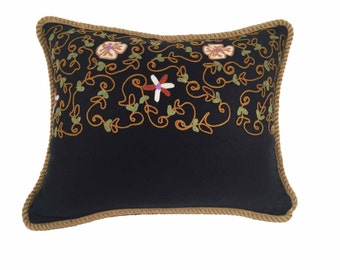 Deep Navy Pillow with Gold Rope Trim