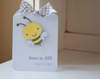 Honeybee Baby Shower Bee Invitations Invites Gray and Yellow