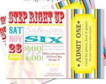 Retro, Vintage Carnival Birthday Party Invitation, Mulit-Colored Circus Invite - Colorful Carnival Birthday  -5x7 PRINTABLE
