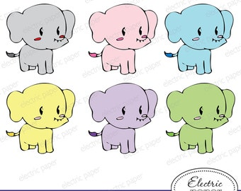 Cute Elephant Clip Art - Elephant - Pastel - Baby Elephant - Small Commercial Use - jpg and png files  Instant Download
