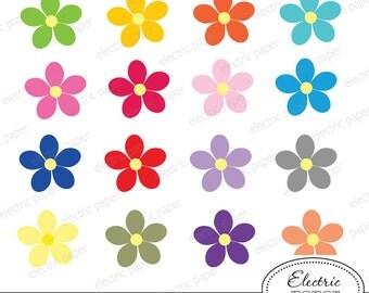 Cute Flowers Clipart Set - 16 digital clipart images - Flowers - instant download